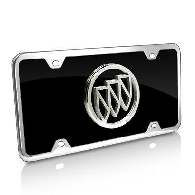 Buick Chrome Logo On Black License Plate Frame