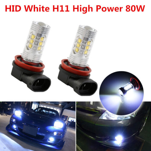 Pair LED 80W H11 White 6000K Two Bulbs Head Light Low Beam Replacement Show Use