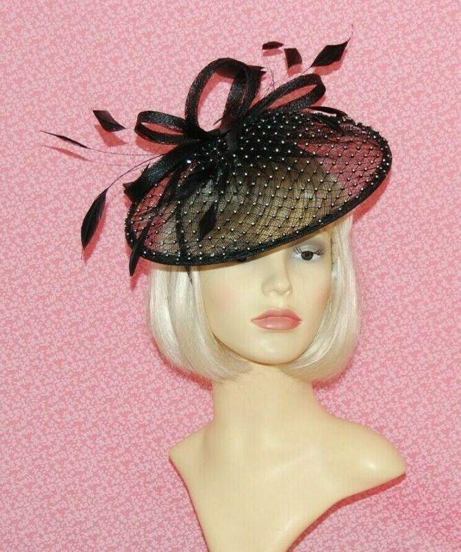 White Sinamay Disc Fascinator with Loops /& Diamante Detail on Head Band