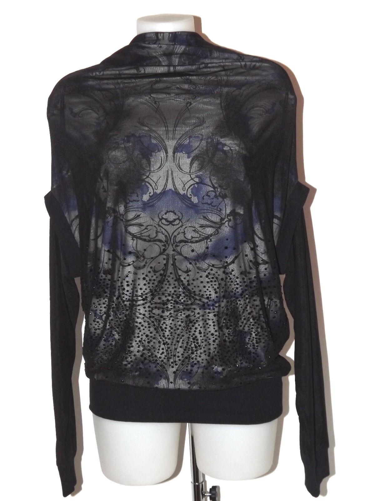 Koralline Jersey Schwarz Größe L T-Shirt Lange Ärmel Druck Tüll und Stachel