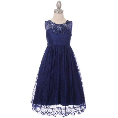NAVY BLUE Flower Girl Dress Wedding Party Graduation Pageant Birthday Dance Prom
