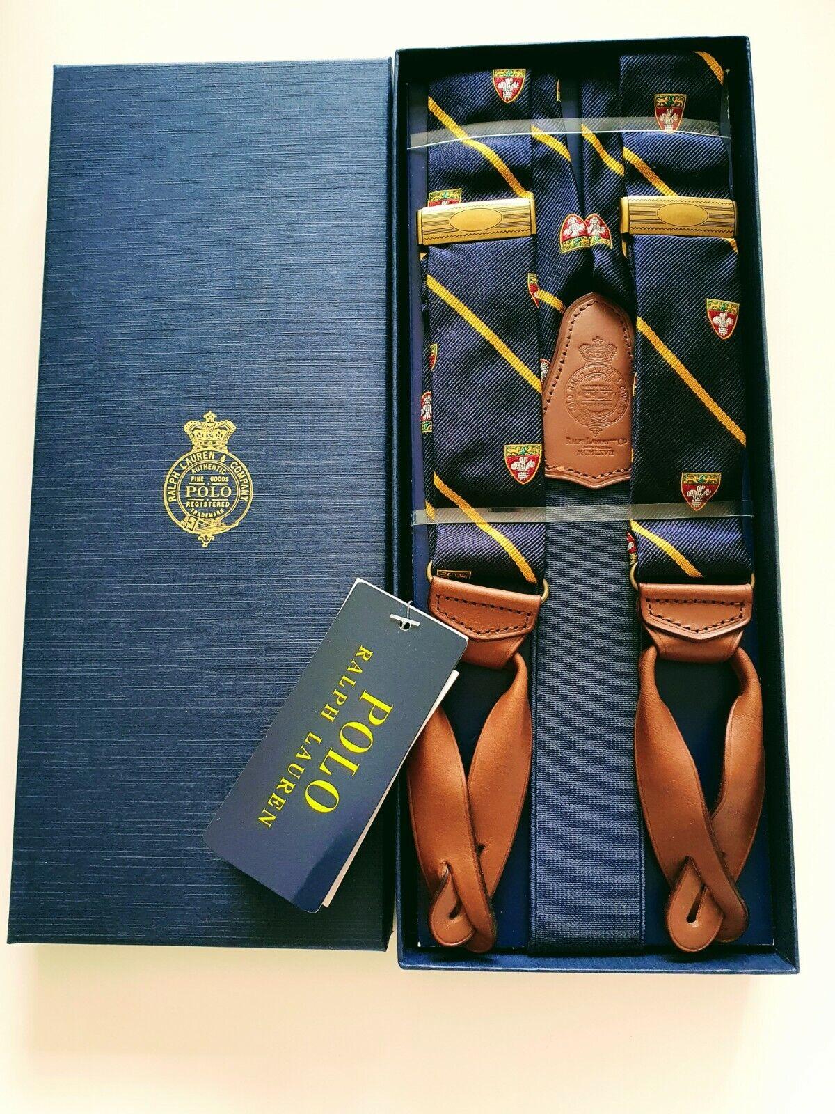 Ralph Lauren Polo Suspenders Braces Mens Striped Navy Gold Brown Leather BNIB