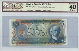 CANADA-1972-5-Replacement-Note-Prefix-CA-BCS-EF-40-Lawson-amp-Bouey