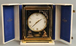 Vintage 1960s Jaeger LeCoultre Atmos CHINOISERIE MARINA 15-Jewel Mantle Clock