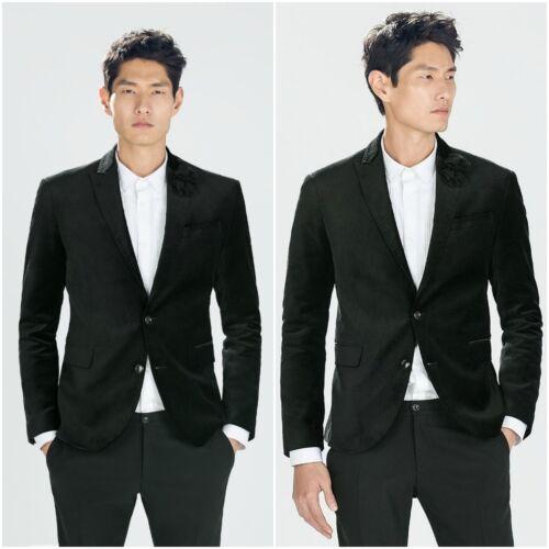 ZARA Man BNWT Black Velvet Blazer Single Breasted Jacket 0706/338 RRP £89.99