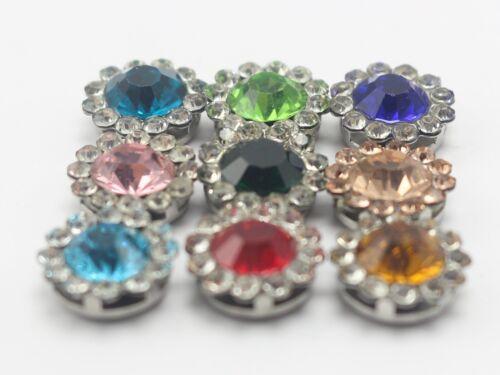 50 piezas Redondo Bling Cristal Estrás Perla flatback Botones invitación de boda