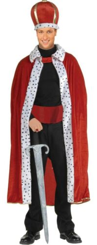Mens King Robe /& Crown Costume Red Dalmatian Spots Kings Royalty Adult Size NEW