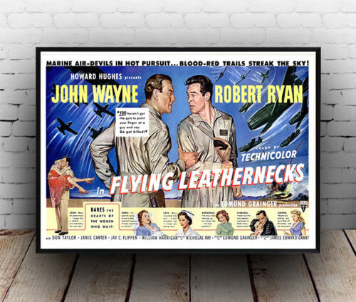 Old film advertising Reproduction poster Wall art. Flying Leathernecks