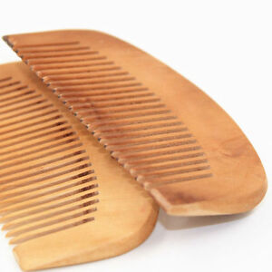 Trendy Hair Engraved Natural Peach Wood Wooden Comb Anti-Static Beard Comb Tool