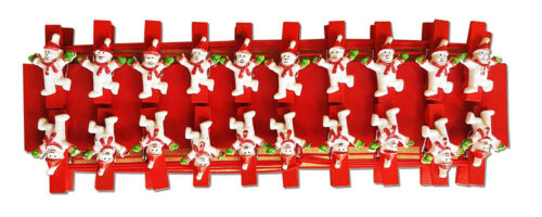 CHRISTMAS CARD HOLDER PEGS Snowman Santa Reindeer Wooden 20 Pegs Suction Hooks