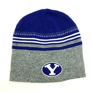 NEW BYU Cougars Hat Skull Cap Blue Gray One Size Fitted Embroidered Knit Adult