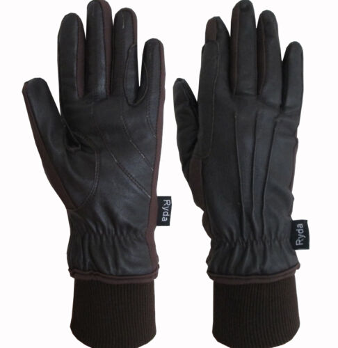 Ryda Premium Leather Winter Ladies Fully Lined Horse Riding Gloves Black Brown