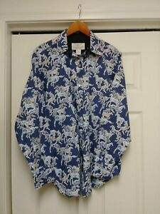 Longhorn-by-Niver-Western-Wear-sz-L-Blue-Rodeo-cowgirl-shirt-horses