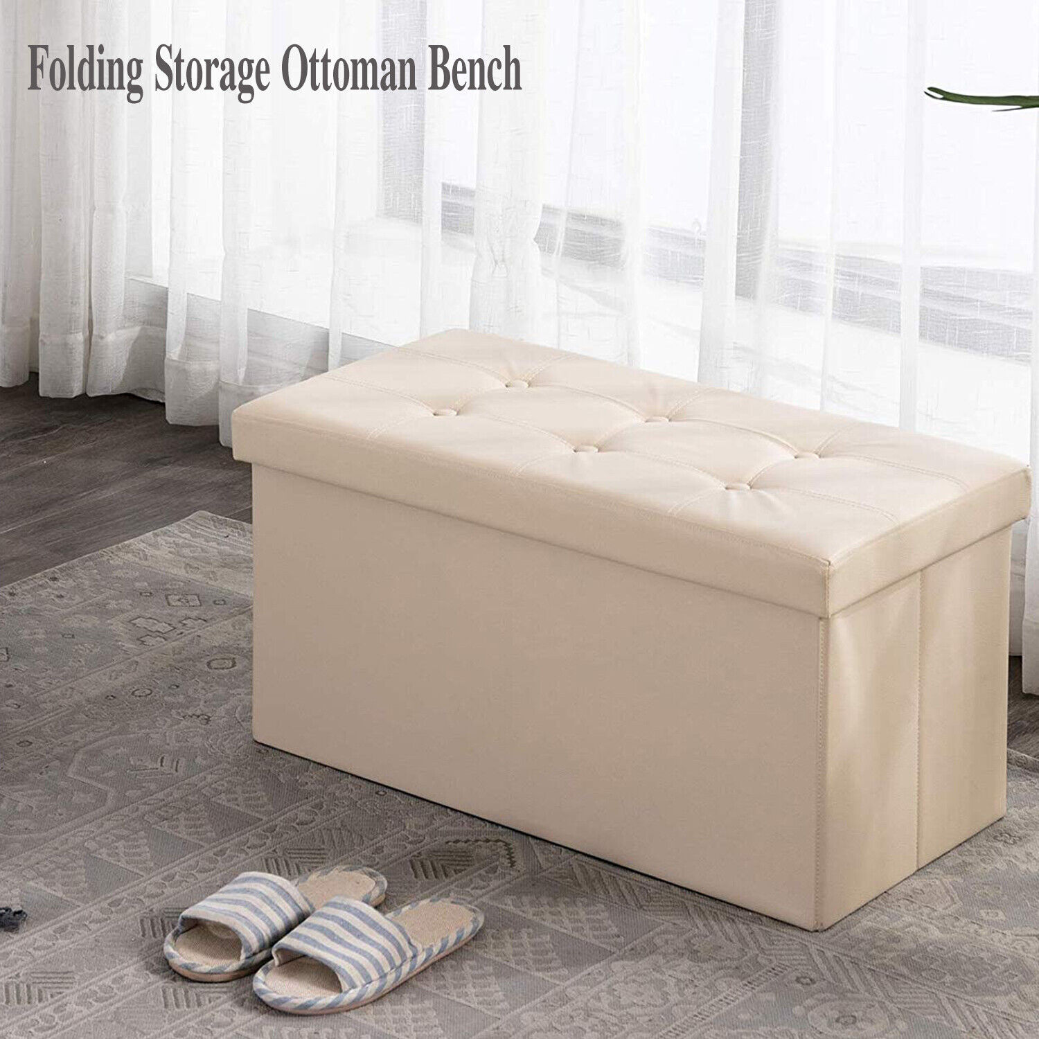 - Maklaine Faux Leather Storage Coffee Table Ottoman In Taupe For