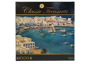 Sure-Lox-Classic-Treasures-Jigsaw-Puzzle-Mykonos-Island-Greece-1000pc-New-Sealed