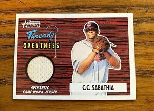 2004-Bowman-Heritage-Threads-of-Greatness-C-C-Sabathia-Indians-HOF