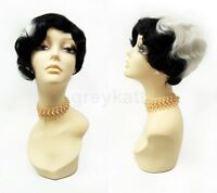 Black & White Asymmetric Finger Waves Wig 1920s Gatsby Flapper Cruella Vintage