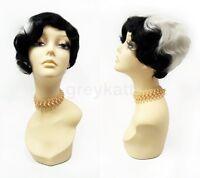 Black & White Asymmetric Finger Waves Wig 1920s Gatsby Flapper Cruella Vintage