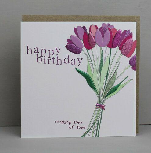 Joyeux Anniversaire-Tulip fleurs-Carte de vœux par Molly Mae
