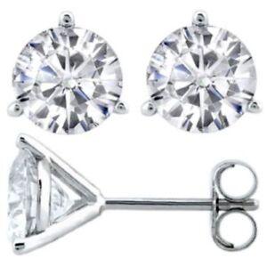 Classy-0-50-Cts-Natuerliche-Diamanten-3-Prong-Ohrstecker-In-Hallmark-14K-Weissgold