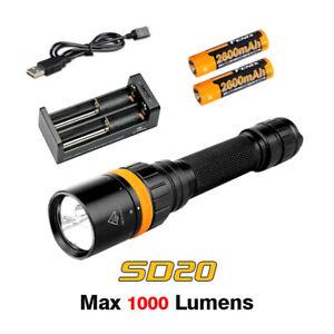 Fenix SD20 Scuba Diving Light Cree XP-L2 U2 LED Flashlight Torch+Battery+Charger