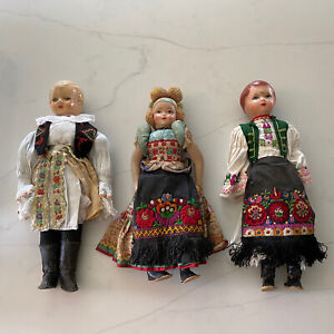 Set-Of-3x-15-Antique-Vintage-Matyo-Folk-Art-Hungarian-Dolls-Composition-Cloth