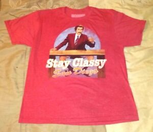 406d09bb74 Anchorman Red T-Shirt Medium Stay Classy San Diego Ron Burgundy Mad ...