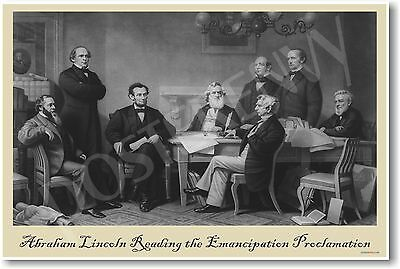 Abe Lincoln reading Emancipation Proclamation - Civil War - NEW Classroom POSTER