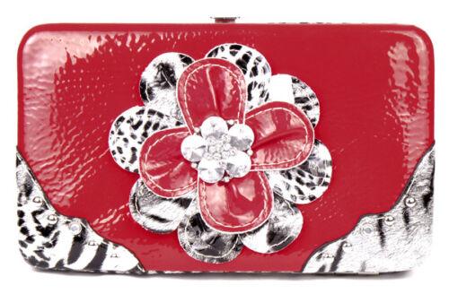 Red /& Leopard Rhinestone Flower Clutch Opera Wallet