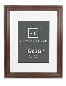 16x20-Brown-Border-Photo-Frame-with-Ivory-Mat-for-11x14-Picture-amp-Real-Glass
