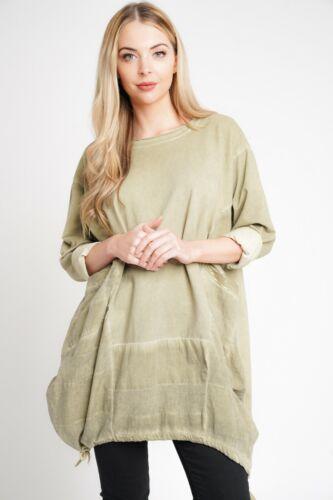 New Spring 2019 Ladies Italian Cotton Lagenlook Sequins Design Pocket Tunic Top