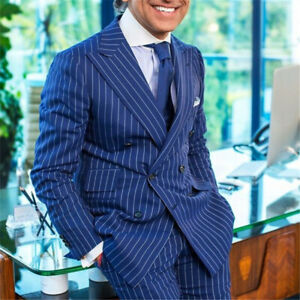 Mens-Blue-Striped-Suit-Pinstripe-Tailored-Fit-Formal-Double-breasted-Party-Suits