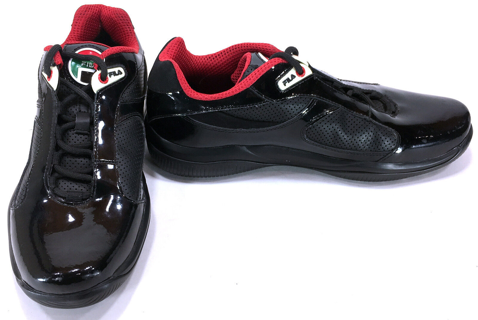 Fila Shoes Patent Leather Lo Athletic Trainer Black/Red Sneakers Mismatch 9/8.5 Brand discount