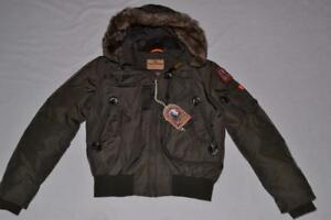 AUTHENTIC-PARAJUMPERS-GOBI-ECO-BOYS-HOODED-BOMBER-BUSH-YOUTH-S-SMALL-BRAND-NEW