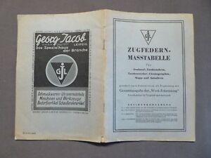 Georg Jacob Leipzig, Zugfedern - Masstabelle Für Armbanduhren Etc., 1952