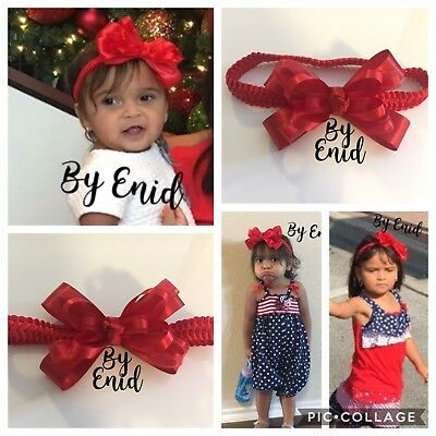 pink, Red And White Modest 3pc Handmade Baby/toddler Girls Headbands Bows Hot Sale 50-70% OFF
