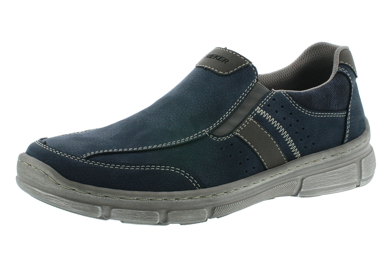 Rieker 13752-14 Slipper in Pelle Uomo Scarpe Basse Blu Tg. 40-47 neu2 | caratteristica  | Gentiluomo/Signora Scarpa
