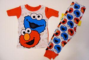37e7ae2191 Sesame Street Infant Toddler Boys Pajamas 2pc Set Elmo Cookie 9M 12M ...