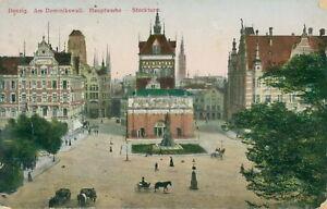 Ansichtskarte-Danzig-Am-Dominikswall-Hauptwache-Stockturm-1919-Nr-837