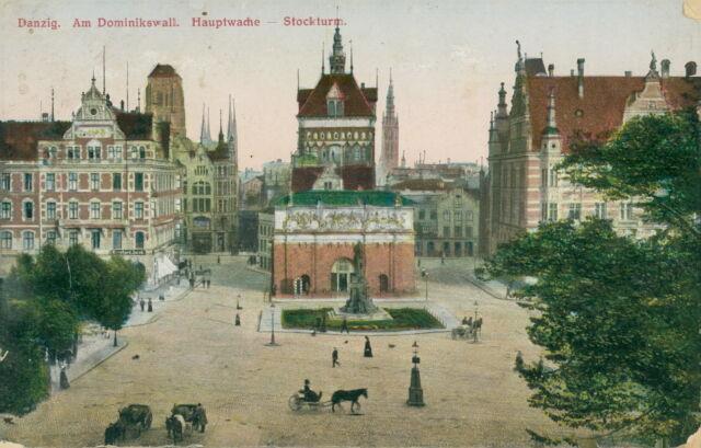 Ansichtskarte Danzig Am Dominikswall Hauptwache Stockturm 1919 (Nr.837)