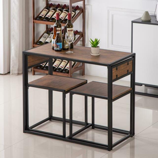 3 Piece Counter Height Dining Table And Stools Breakfast Bar Pub Kitchen Dinner For Sale Online Ebay
