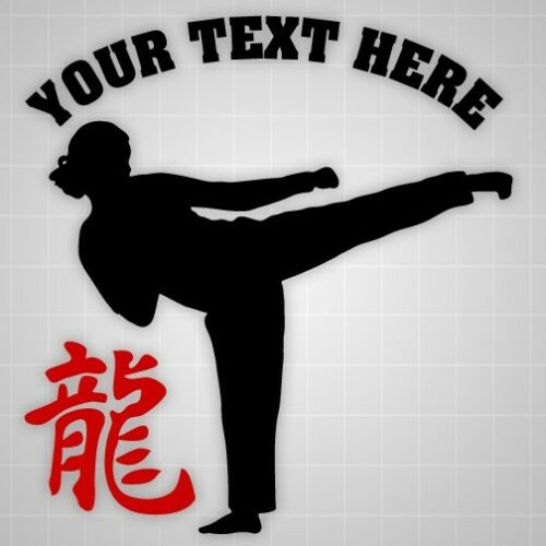 Taekwondo girl Personalized wall decal, Dragon hieroglyph wall gym vinyl decal