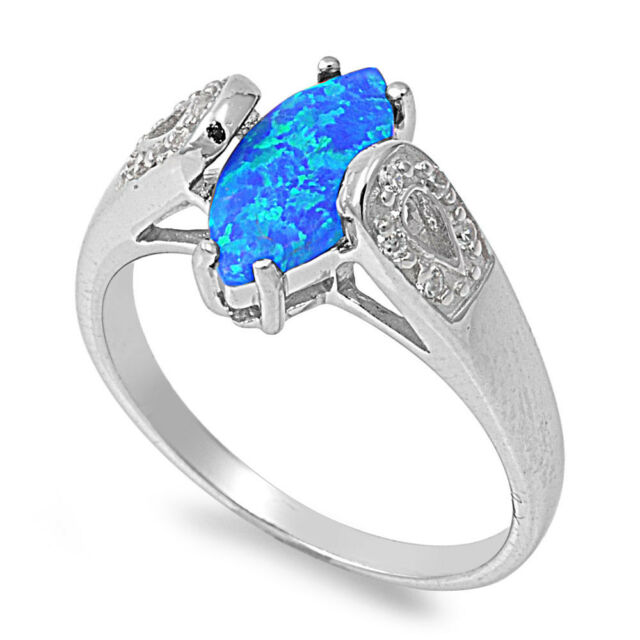.925 Sterling Silver Marquise Cut Lab Blue Opal Clear CZ Promise Ring Size 5-10