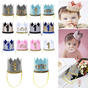 Baby Girl Boy Crown 1st First Birthday Headband Party Tiara Hairband ... f622825bb26