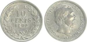 Niederlande-10-Cent-1890-Silber-Wilhelm-vz