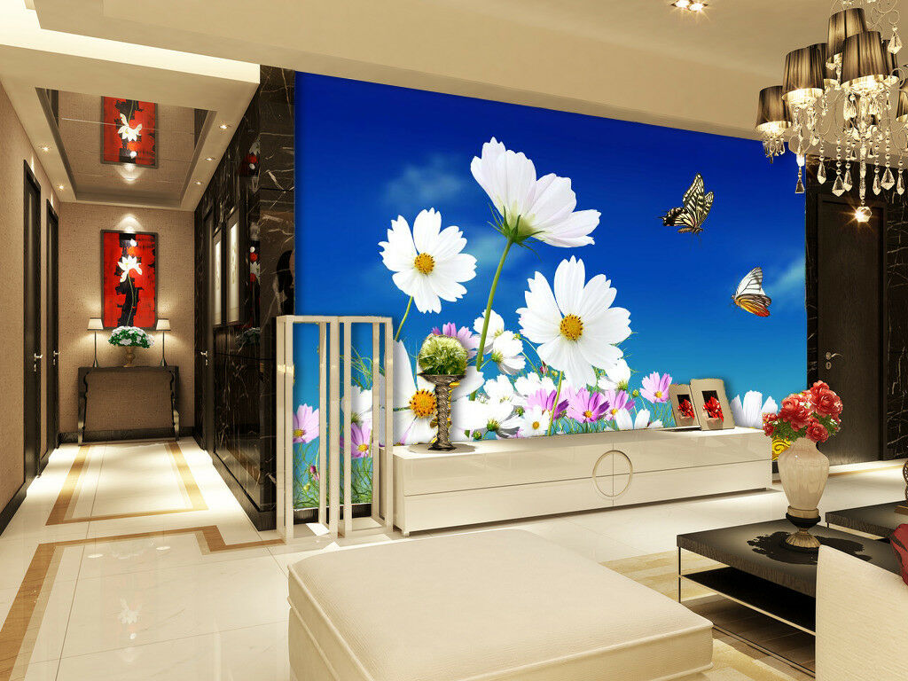 3D Blau Sky Wildflowers 738 Wallpaper Mural Paper Wall Print Wallpaper Murals UK