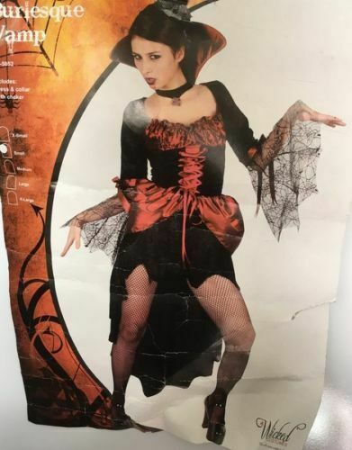 ADULT HALLOWEEN BURLESQUE VAMP LADY REDUCED WOMAN X SMALL SMALL LARGE DISCOUNTED