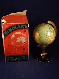 1940 Jouet Globe Mappemonde Tôle Terrestre Boîte D'origine England JcFlK1
