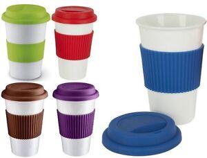 Image Is Loading Takeaway Ceramic Silicone Travel Mug Take Away Coffee