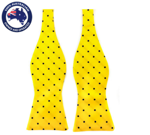 6590dfa01815 Men's Bowtie Yellow with Midnight Blue Polka Dots Self-tied Formal ...